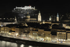 Austria, Salzburg (Saltsburg) at night. Austria, Salzburg (Saltsburg). Night view on the old town and the castle stock images