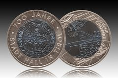 Austria silver niob coin 25 twenty five euros minted 2003 isolated on gradient background. Mint royalty free stock photo