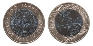 Austria silver niob coin 25 twenty five euros minted 2003 isolated on white background. Mint stock photography