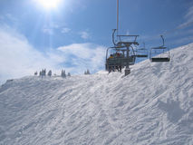 Austria / Skiing area. Shot was taken in the skiing area Schladming (Planai) on a chair lift stock photo