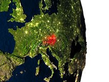 Austria from space during dusk Stock Images