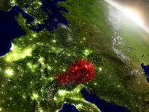 Austria from space highlighted in red Royalty Free Stock Images