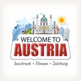 Austria sticker header lettering welcome with cathedral nature mountains. Sun different houses buildings architecture Royalty Free Illustration