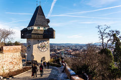 Austria, styria, graz, clock tower Royalty Free Stock Photo