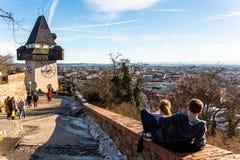 Austria, styria, graz, clock tower Stock Image
