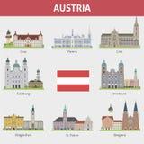 Austria. Symbols of cities. Vector set Stock Photography
