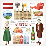 Austria traditional symbols collection set. Austria symbols collection cathedral vienna national costume alps state symbols food map beer people architecture royalty free illustration