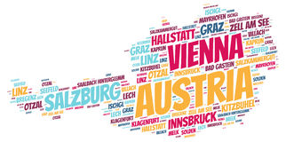 Austria top travel destinations word cloud Stock Photography