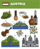 Austria travel destination promotional poster with country symbols. Austria travel destination vector illustration. Hat with feather, national cuisine Royalty Free Stock Photos