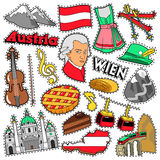 Austria Travel Scrapbook Stickers, Patches, Badges for Prints with Alps, Cake and Austrian Elements Royalty Free Stock Images