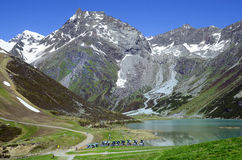 Austria, Tyrol, Alps. Austria, Tirol, snow cannons in front of Rifflsee lake in Tyrolean Alps Stock Images