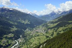 Austria, Tyrol, Inntal. With river Inn and mountain village Fliess royalty free stock photos
