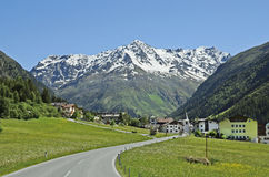 Austria, Tyrol, Pitztal. Austria, village Plangeross in Pitztal, Tyrol with Pitztaler glacier and alps behind royalty free stock image
