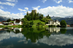 Austria, Tyrol. Austria, reflections in small lake of castle Laudegg in Tyrol royalty free stock image