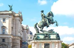 The beautiful Viennese architectures. Austria, Vienna, the equestrian monument of the Prince Eugene of Savoy in Helden square Stock Images