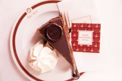 Austria, Vienna - February 18, 2014 : Hotel Sacher cafe. The famous dessert Sacher stock photos