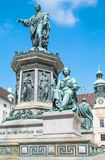 The beautiful Viennese architectures. Austria, Vienna,  Hofburg Imperial Palace, the monument to the Emperor Francis in the internal Castle square Royalty Free Stock Photos
