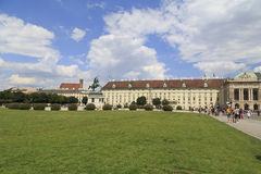 Austria, Vienna, July 23 - Equestrian statue of Prince Eugene of Savoy, Heldenplatz -View of the historic palace Stock Photos