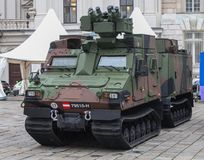 Austria; Vienna; October 21, 2018; The Armored personnel carrier of the Austrian Armed Forces at the National Day of Austria -. Left side front stock photography