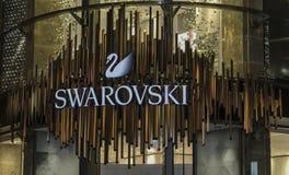 Austria; Vienna; October 21, 2018; Swarovski logo and signage on the building in Vienna stock image