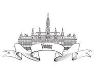 Austria visit card. Vienna city. Famous landmark isolated Royalty Free Stock Photography