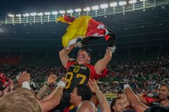 Austria vs. Germany. VIENNA, AUSTRIA - JUNE 7, 2014: WR Jan Hilgenfeldt (#87 Germany) celebrates the win of his team in the finals Royalty Free Stock Images