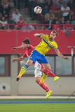 Austria vs . Sweden. VIENNA, AUSTRIA - SEPTEMBER 9, 2014: Julian Baumgartlinger (#14 Austria) and Zlatan Ibrahimovic (#10 Sweden) fight for the ball in an Royalty Free Stock Photography