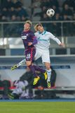 Austria vs. Zenit St. Petersburg. VIENNA, AUSTRIA - DEZEMBER 11 Cristian Ansaldi (#3 Zenit) and Daniel Royer (#28 Austria) fight for the ball at a UEFA Champions royalty free stock photo