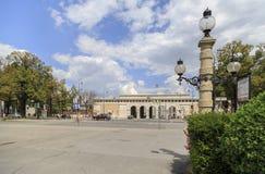 Austria, Wiedeń, widok historii naturalnej muzeum i ogród Zdjęcia Royalty Free