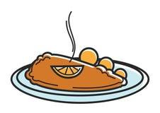 Austria Wiener Schnitzel cutlet Austrian tourism travel landmark famous dish vector icon. Austria Wiener schnitzel or breaded veal cutlet. Austrian famous food Stock Image