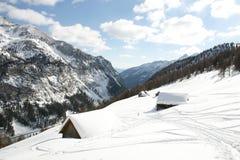 Austria - winter. Two huts in Austria stock photos
