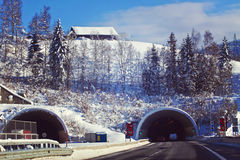 Austria, winter with snow along the motorway Royalty Free Stock Photography