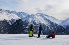 Austria: Winter sport in Sölden snow mountains at Rotkogljoch i. N the tyrolean alps stock images