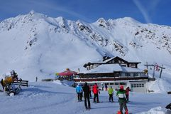 Austria: winter sport in Sölden snow mountains in the tyrolean. Sölden: Snow mountains and glaciers for perfect sking and snowboarding in Sölden in the royalty free stock photography