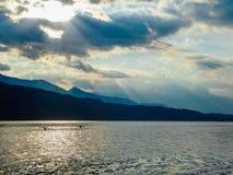 Austria - zmierzch przy jeziorem obrazy stock