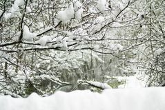 Austriacka zimy wsi rzeka Obrazy Royalty Free