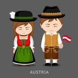 Austriacy w obywatel sukni z flaga ilustracja wektor