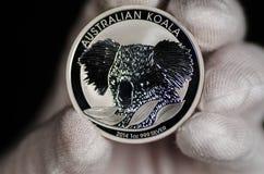 Austrialian-Koala-Silbermünze Stockbilder