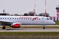 Austrian Airlines θλεμψραερ erj-195 Στοκ Φωτογραφίες