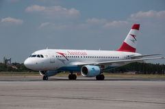 Austrian Airlines Airbus A-319. At Prague Airport Royalty Free Stock Image