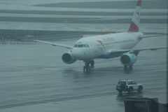 Austrian airlines commercial airliner taxied on runway Royalty Free Stock Image