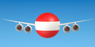 Austrian airlines and flying& x27;s concept. 3D rendering Royalty Free Stock Photos