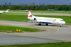 Austrian Airlines Fokker 100  aircraft  in Pulkovo International airport in Saint-Petersburg, Russia Stock Photo