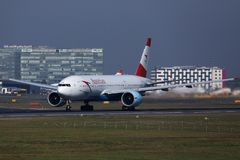 Austrian Airlines plane taking off from runway in Amsterdam Airport Schiphol, AMS, Netherlands. Austrian Airlines jet takes off from AMS Airport royalty free stock image