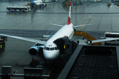 Austrian airlines plane docked at airlift Stock Photo
