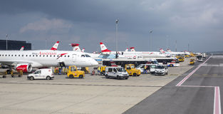 Austrian Airlines  preparing for take-off in Vienna airport Royalty Free Stock Image