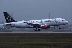 Austrian Airlines Star Alliance niv?landning i flygplats arkivbilder