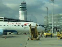 Austrian Airlines-vliegtuigen Royalty-vrije Stock Foto