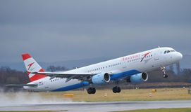 Austrian Airways airbus a321. Taking off from Manchester airport royalty free stock photography