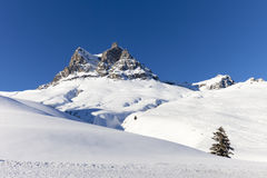 Austrian Alps, mountain range covered in the snow, winter Stock Photos